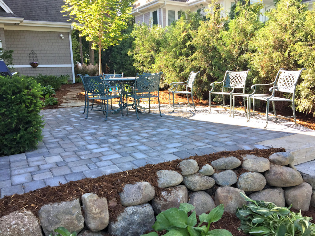paver patio and rock retaining wall