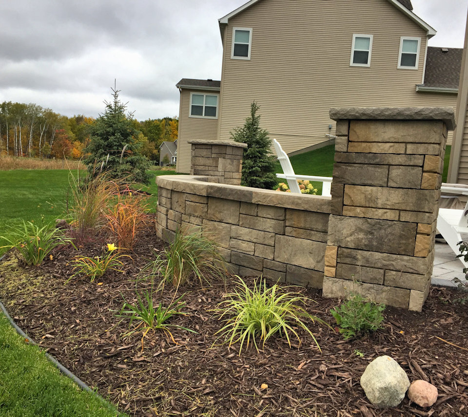 The mulch and plantings will fill in over time with little maintenance required.