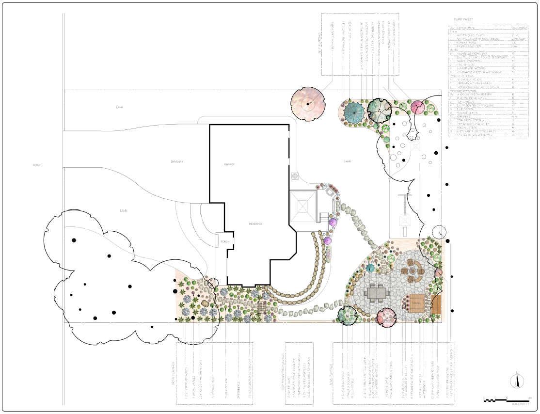 Color Landscape Design for Full Yard with Patio