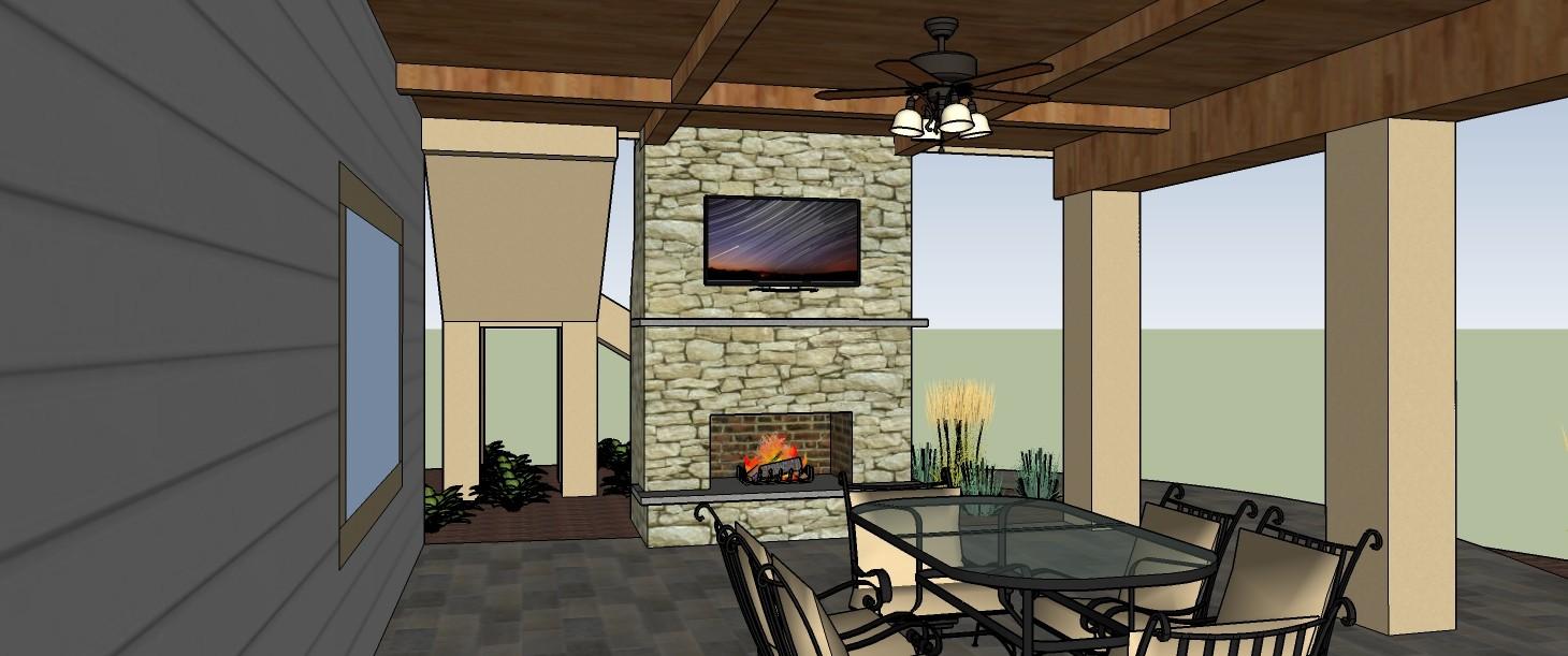 3D Rendering of Outdoor Fireplace