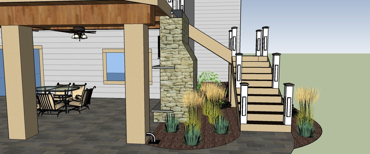 3D Rendering of Patio with Stairs