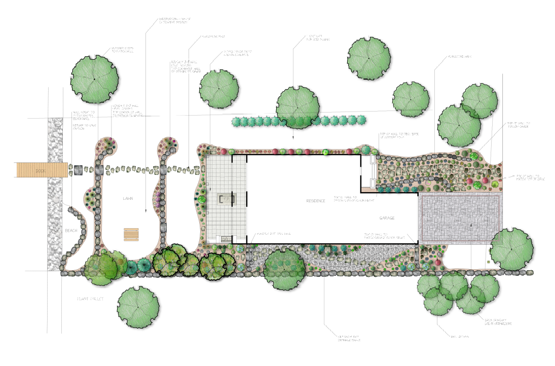 Full Yard Landscape Design with Trees
