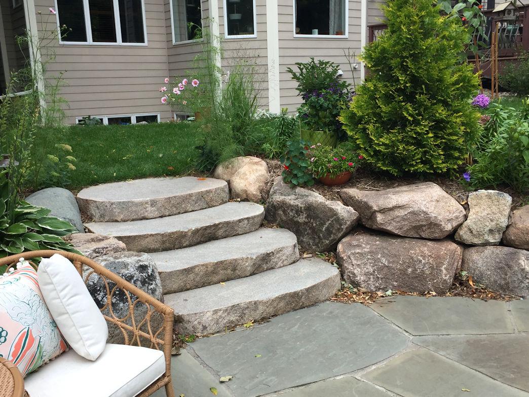 Excelsior Backyard Sauna sawn boulder steps