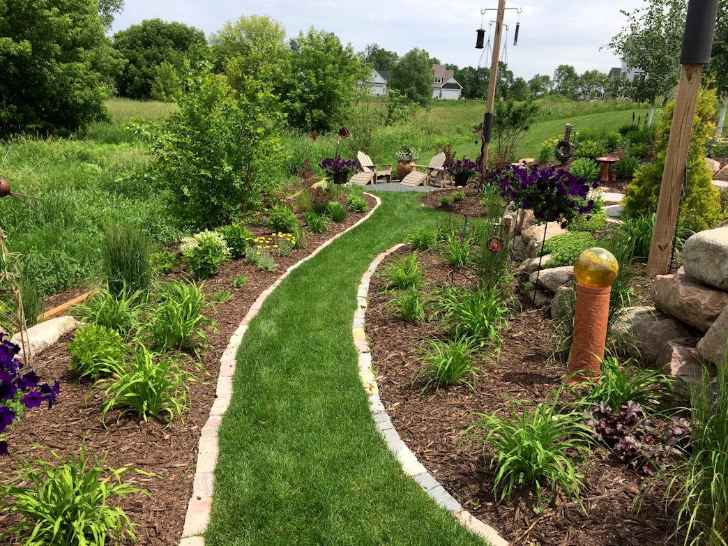 Terraced Garden turf walking path